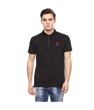 Solid Polo Slim Fit T-Shirt,  black, l
