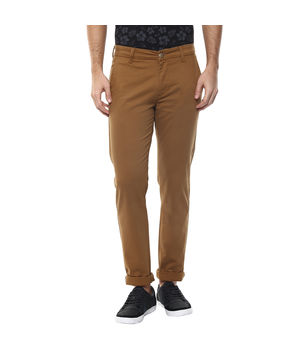 Solid Flat Front Chinos,  golden khaki, 32
