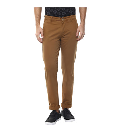Solid Flat Front Chinos, 34,  golden khaki