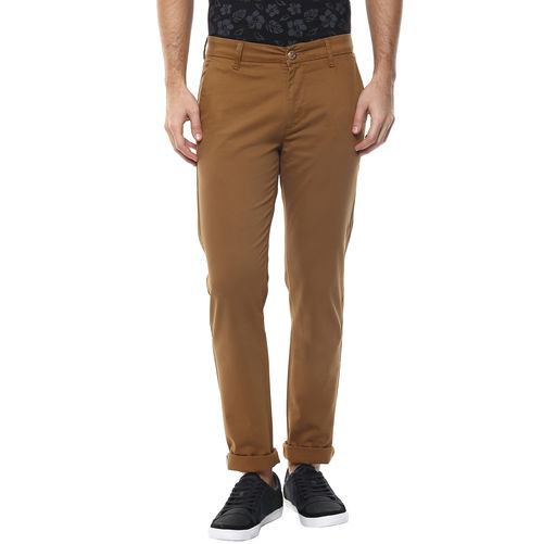 Solid Flat Front Chinos, 32,  golden khaki