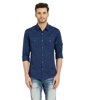 Solid Regular Slim Fit Shirt, xl,  blue