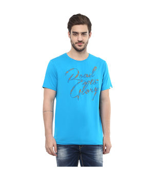 Round Neck Printed T-Shirt, s,  turquoise