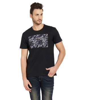 Printed Round Neck T-Shirt, l,  black