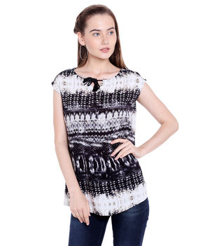 Printed Top,  black, l