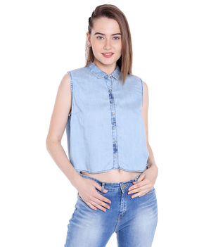 Denim Collar Shirt,  light blue, m