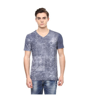 Geometric V Neck Printed T-Shirt, xl,  navy