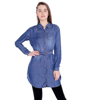Denim Collar Shirt,  dark blue, s
