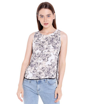 Printed Round Neck Top,  white, s