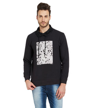 Printed Solid Sweatshirt,  black, l