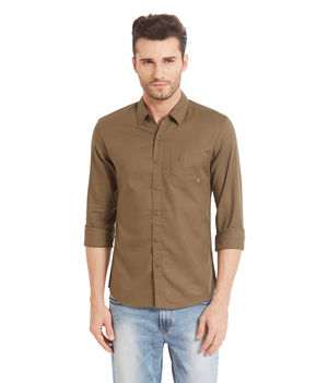 Solid Shirt In Slim Fit, s,  olive