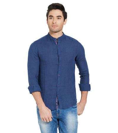 Solid Shirt In Slim Fit, m,  ink
