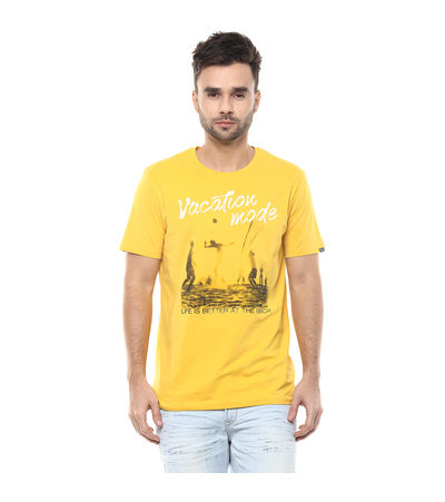 Graphic Round Neck Print T-Shirt, m,  mustard