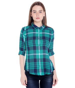 Checks Collar Shirt,  green, m