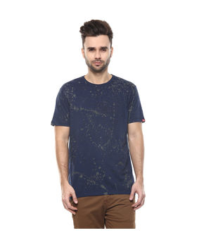 Printed Round Neck T-Shirt,  navy, s