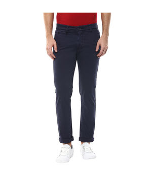 Solid Flat Front Trousers,  navy, 32