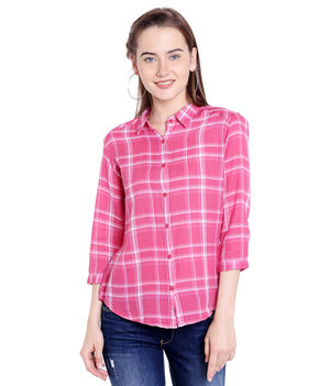 Checks Collar Shirt,  pink, s