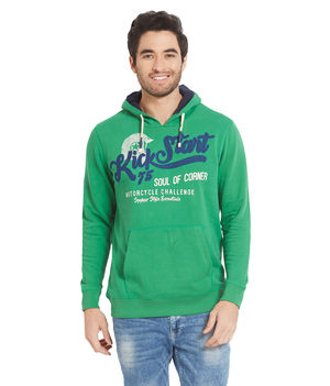 Printed Hooded Sweatshirt,  green, xl