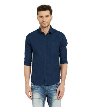 Solid Shirt In Slim Fit, 2xl,  navy