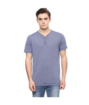 Henley Stand Collar Neck T-Shirt,  blue, s