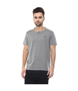 Solid Stand Collar Neck T-Shirt, m,  anthra