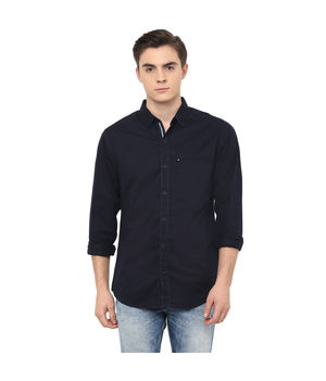 Solid Regular Shirt, s,  navy