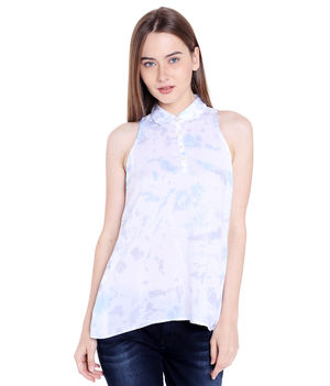 Printed Collar Top,  white, s