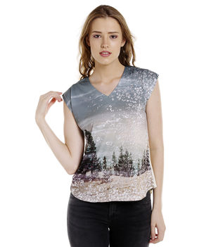 Printed Round Neck T-Shirt,  off white, xl