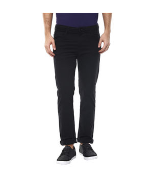 Solid Flat Front Chinos,  black, 36