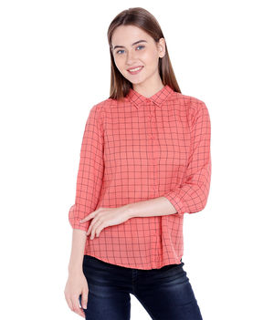 Checks Collar Shirt,  peach, s