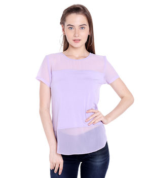 Solid Round Neck T-Shirt,  lilac, s