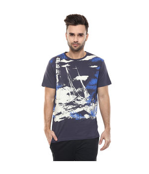 Graphic Round Neck Print T-Shirt,  charcoal, m