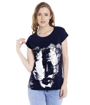 Solid Round Neck T-Shirt,  navy, s