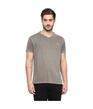 Solid V Neck T-Shirt, s,  grey