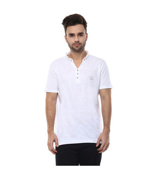 Solid Stand Collar T-Shirt, xl,  white