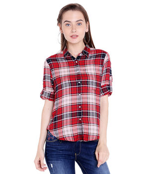 Checks Shirt,  red, m