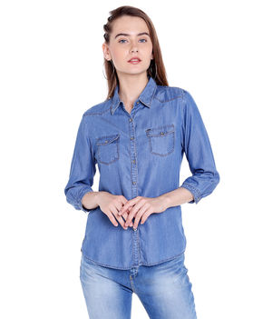 Denim Collar Shirt,  mid blue, xl
