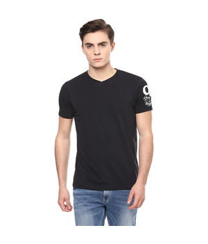Solid V Neck T-Shirt,  black, s