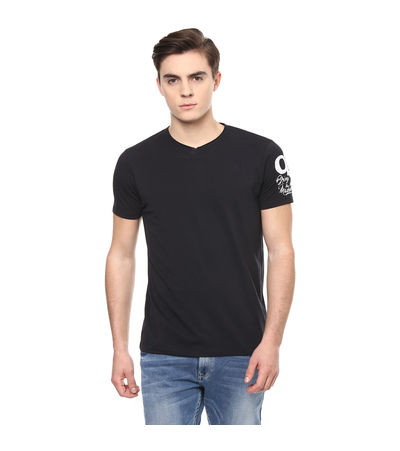 Solid V Neck T-Shirt, m,  black