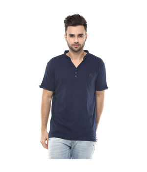 Solid Stand Collar T-Shirt, s,  navy