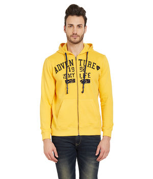 Solid Hooded Zipper,  yellow, m