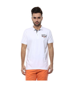 Solid Polo T-Shirt,  white, m