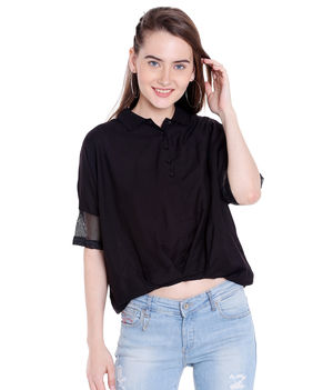 Solid Collar Top,  black, xl