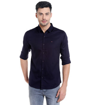 Solid Shirt In Slim Fit,  ink blue, s