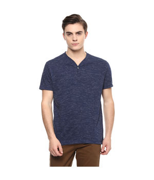 Printed Stand Collar T-Shirt, s,  navy