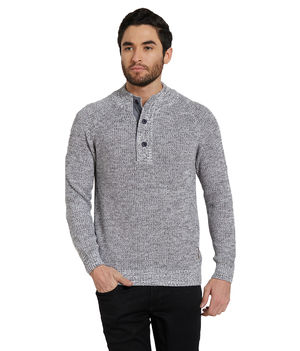 Solid Henley T-Shirt, s,  grey
