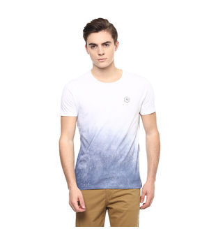 Printed Round Neck T-Shirt,  white, s