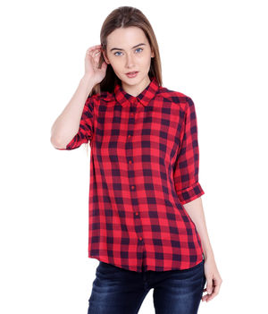 Checks Collar Shirt,  pink/navy, l
