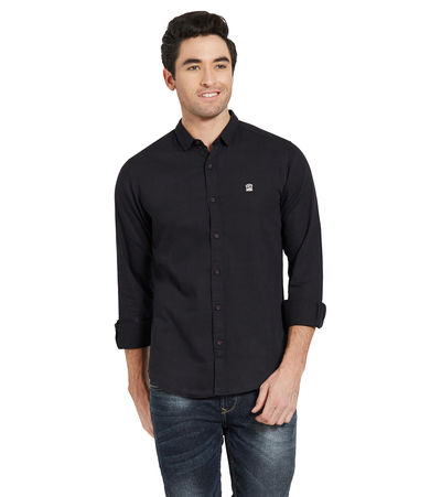 Solid Shirt In Slim Fit,  black, m