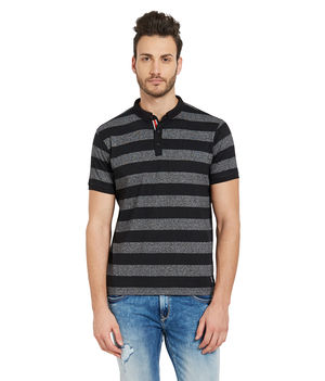 Striped Henely T-Shirt, s,  black