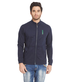 Solid Hooded Zipper, m,  navy